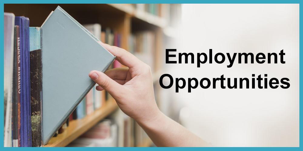 hand pulling a book from the library shelf for employment opportunities